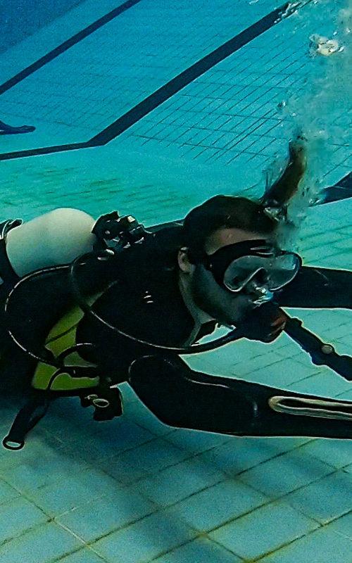 Fin pivot in the swimming pool